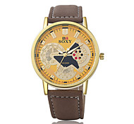 Men's Fashion Watch Chinese Quartz Leather Band Casual Brown