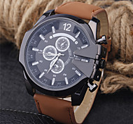 Men's Fashion Watch Quartz Leather Band Casual Black Blue Brown