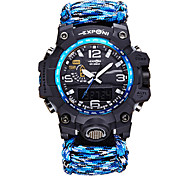 Men's Sport Watch Unique Creative Watch Digital Watch Quartz Digital Fabric Band Black Blue Red Green
