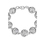 Sweet Silver Plated Rose Flower Strand Chain & Link Bracelets for Wedding Party Women Christmas Gifts