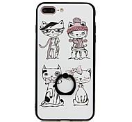 Для Кольца-держатели С узором Кейс для Задняя крышка Кейс для Кот Твердый PC для Apple iPhone 7 Plus iPhone 7