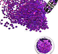 1 Bottle Fashion Romantic Dark Purple Laser Glitter Stripe Round Paillette Beautiful Nail DIY Glitter Decoration Nail Beauty Shiny  Thin Slice TW14