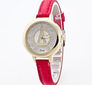Mujer Reloj Deportivo Reloj de Vestir Reloj de Moda Reloj de Pulsera Simulado Diamante Reloj Esfera Grande Cuarzo Cuero Auténtico Banda