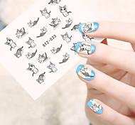 10pcs/set Lovely Nail Art Sticker Lovely Cartoon Cat Cute Nail Art Water Transfer Decals Nail DIY Beauty Design STZ-033