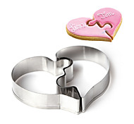 2 Piece Cookies Mold Left Heart Right Heart Love Puzzles Valentine's Day Wedding Cookies Mold