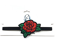 Handmade Embroid Women's Rose Flower Choker Necklaces Jewelry Eco-friendly Material Fabric Flower Style Jewelry ForWedding Party Occasion Halloween