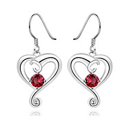 Concise Silver Plated Blue Crystal Heart Shape Dangle Earrings for Party Women Jewelry Accessiories