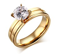 CZ Engagement Ring For Women Fashion Stainless Steel Wedding Ring Prong Setting Female Cubic Zirconia Jewelry