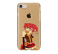 For Transparent Pattern Case Back Cover Case  Red Hair Sexy Lady Soft TPU for IPhone 7 7 Plus iPhone 6s 6 Plus iPhone 6s 6 iPhone 5s 5 5E 5C 4 4s