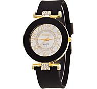 Mujer Reloj Deportivo Reloj de Vestir Reloj de Moda Reloj de Pulsera Simulado Diamante Reloj Cuarzo Esfera Grande Silicona Banda Encanto