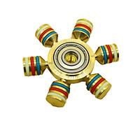 Brass Hand Spinner Six Tri Fidget Desk Toys Ceramic Finger Gyro EDC ADHD Autism