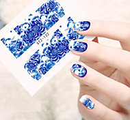 10pcs/set Beautiful Blue Flower Design Nail Art Sticker Full Nail Water Transfer Decals Nail DIY Beauty Design Decals STZ-132