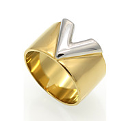 Fashion 'V' Shape Stainless Steel Rings 18K Gold Plated Fashion Jewelry For Women