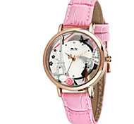 Men's Women's Fashion Watch / Quartz Leather Band Casual White Pink