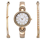 Luxury watches women Fashion Watch Bracelet Watch Set Charm Bangle Dress Watch Ladies Pearls Bangle montre femme Watch Set (3pcs/set)