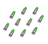 10Pcs T10 9*5050 SMD LED Car Light Bulb Green Light DC12V