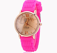 Women's Fashion Watch Quartz Silicone Band Casual White Rose