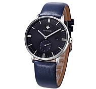 WWOOR Men's Dress Watch Fashion Watch Japanese Japanese Quartz Genuine Leather Band Casual Black Blue BrownWhite/Brown Brown Dark Blue