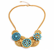 Women's Strands Necklaces Flower Chrome Unique Design Personalized Light Blue Jewelry For Gift Outdoor 1pc