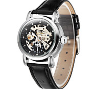 WINNER Women's Skeleton Watch Hollow Engraving Mechanical manual-winding Leather Band Luxury Black Strap Watch