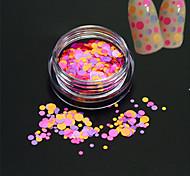 1bottle моды сладкий дизайн ногтей искусство блеск красочный круглый ломтик романтический дизайн блестка ногтей искусство DIY красоты
