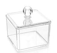 Acrylic Transparent Complex Combined Double 2 Layer Makeup Cosmetics Storage Cotton Pads Swab Container Cosmetic Organizer Box 2PCS Set with Lid