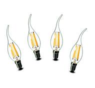 4.5W E14 Luci LED a candela CA35 6 COB 500 lm Bianco caldo Decorativo AC 220-240 V 4 pezzi