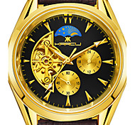 Men's Fashion Watch Mechanical Watch Chinese Quartz Leather Band Gold