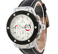 Men's Fashion Watch Quartz Leather Band Black Silver Black White