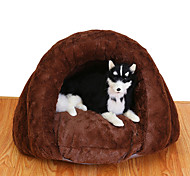 Cat Dog Bed Pet Baskets Solid Soft Brown