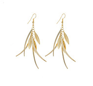 New Fashion Simple Vintage Plated Gold/Silver Multiple Leaves Drop Earrings For Women Dangle Long Earrings Jewelry Accessories