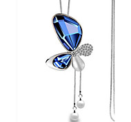 Women's Pendant Necklaces Rhinestone Butterfly Glass Alloy Euramerican Fashion Jewelry 1 piece
