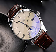 Men's Fashion Watch Quartz Leather Band Black Brown Brown Black