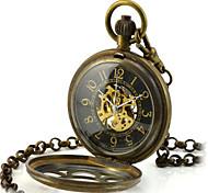 Men's Skeleton Watch Pocket Watch Mechanical Watch Quartz Mechanical manual-winding Alloy Band Bronze