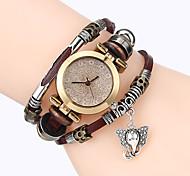Top Women Premium Genuine Leather Watch Triple Bracelet Watch Elephant Charm Wristwatch Fashion Para Femme