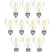 4W Bombillas de Filamento LED A60(A19) 4 COB 300 lm Blanco Cálido Blanco Regulable V 10 piezas
