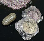 2bottles/set 0.2g/bottle Fashion Galaxy Starry Effect Gorgeous Nail Art Platinum Glitter Power DIY Shining Decoration BG08&25