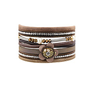 Fashion Women PU Flower  Rhinestone  Pearl  Leather Crystal Wrap  Bracelet