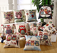 19 Style Owl Design Pillow Covers Cotton/Linen Pillow Case