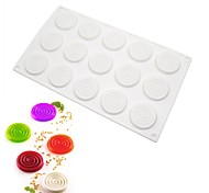 15Cavities White Silicone Mousse Cake Mold Spiral Mosquito Coils Shape Fondant Cake Chocolate Pastry Tool Kitchen DIY Baking Pan m-46