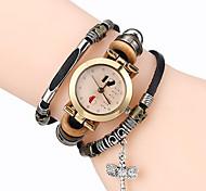 Top Women Premium Genuine Leather Watch Triple Bracelet Watch Dragonfly Charm Wristwatch Fashion Para Femme