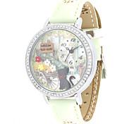 Women's Fashion Watch Quartz Leather Band White Green