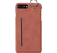 FOR iPhone 7 Plus 7 High End Solid Color PC and Genuine Leather Card Holder Hanging Ring Function Phone Case for 6 Plus 6S 6