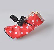 Собака Ботинки и сапоги Водонепроницаемый Горох Розовый Красный Синий Розовый
