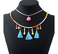 Жен. Ожерелья-бархатки Ожерелья с подвесками Ожерелья-цепочки Геометрической формы Композит Смешанные материалы СплавВ виде подвески