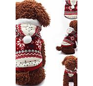 Собака Толстовки Одежда для собак На каждый день В снежинку Коричневый Красный