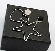 Stud Earrings Drop Earrings New Mismatching Asymmetry Earrings Simple Style Copper Heart Star Shape For Women Party Gift Jewelry