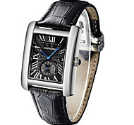 Men's Fashion Watch Wrist watch Quartz Calendar Leather Band Black