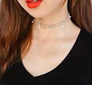 Жен. Ожерелья-бархатки Обсидиан Геометрической формы Искусственный жемчуг Медь Стразы Euramerican Мода Магнитная терапия Симпатичные Стиль