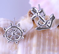 Drop Earrings New Mismatching Asymmetry Earrings Fashion Rudder Anchor Shape  For Women  Movie Gift Jewelry